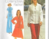 """SIMPLICITY 7258 Size 10 B-32 1/2"""", Young Contemporary Fashion 2-pc Dress, Top, Pants Pattern 1970's Retro"""