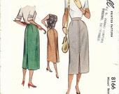 McCALL 8166 Waist 24 Straight Slim Mid-Length Center Pleat Skirt Vintage 1940's/1950's