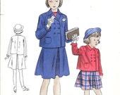 VOGUE 2542 UNCUT Size 10 Vintage 1940's Girl's Jacket and Skirt Set Pattern