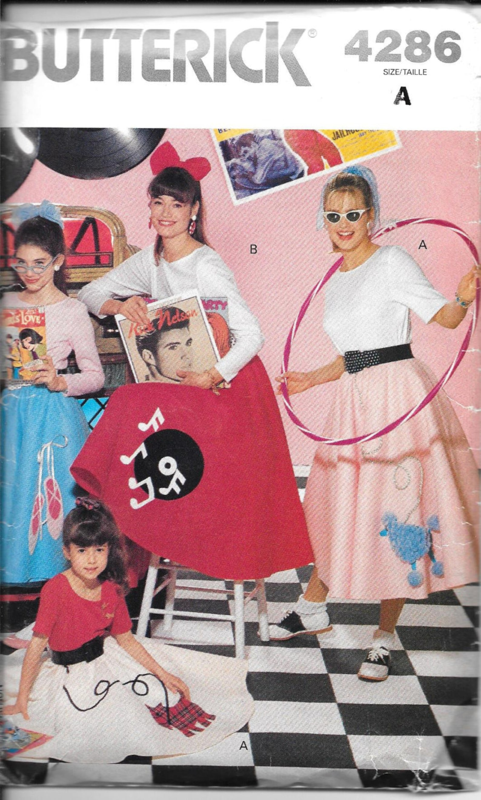 mccall's 4286 uncut size xs-l 1950's poodle scottie ballet shoes record music applique halloween circle skirt top blouse