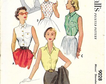 McCALL'S 9028 Size 12 Bust 30 Button Front Lapel Collar Pocket Sleeveless Blouse Shirt Top Vintage 1950's Pattern