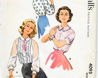 "McCALL'S 4095 Size 14 Bust 34"", Vintage 1950's Ruffle Front Tuxedo Peter Pan Collar Long and Short Sleeve Lace Edge Blouse Pattern Retro"
