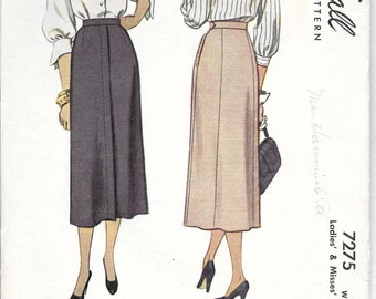 "McCALL'S 7275 Waist 28"", Vintage 1940's Button Placket Waistband Gored Straight Skirt Retro Pattern"