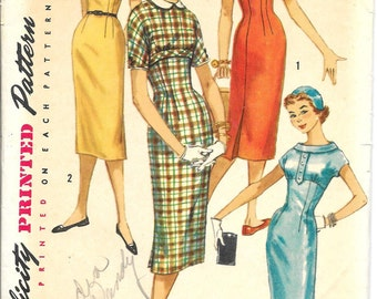 SIMPLICITY 1799 UNCUT Size 14 Bust 34 Vintage 1950's Kimono Sleeves Slim Pencil Skirt Peter Pan Collar Button Front Midriff Dress Pattern