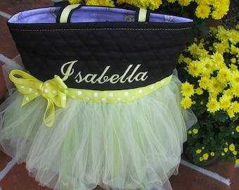 Personalized Yellow Ballet Tutu Tote Bag