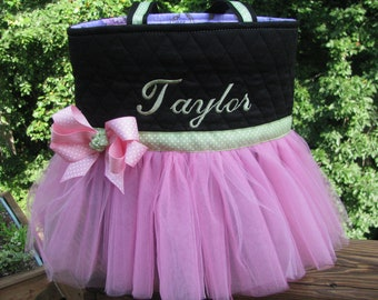 Personalized Green and Pink Ballet Tutu Tote Bag