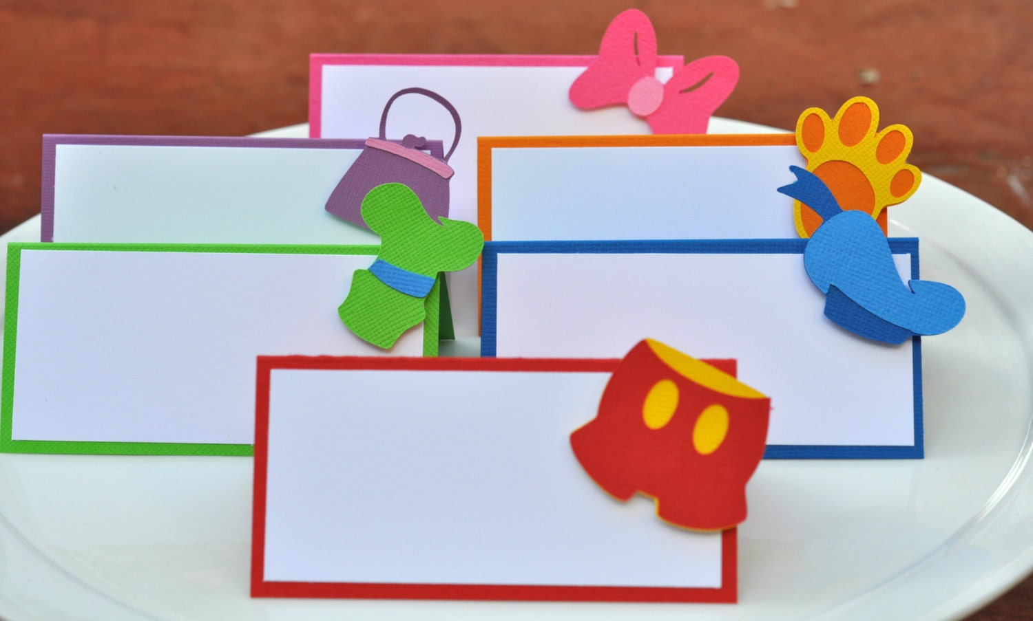 mickey mouse clubhouse inspired placecards food cards