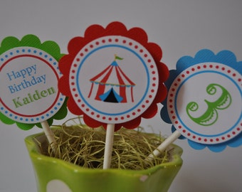 Circus or Carnival theme cupcake toppers set of 12