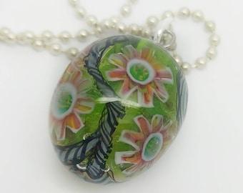 Handmade Lampwork Bead Pendant, OOAK