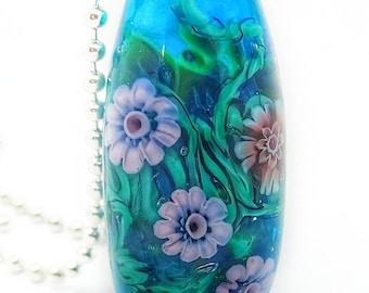 Handmade Lampwork Underwater Garden Bead Pendant, OOAK