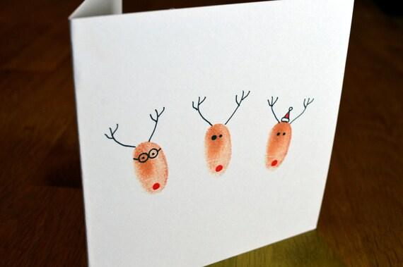 hnliche artikel wie handgemachte fingerabdruck rentier freunde weihnachtskarte mit umschlag. Black Bedroom Furniture Sets. Home Design Ideas