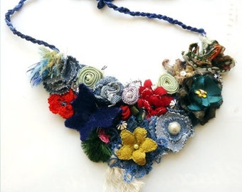 Flower bib necklace, Handmade Gift for her, Statement Necklace ,Romantic Shabby chic Textile jewelry