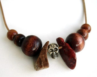 Brown Necklaces for men, brown beaded Men's necklace valentines day gift for him, men's jewelry necklace pendant