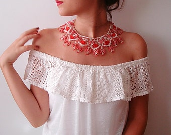 Beadwork lace oya crochet collar necklace red and white butterfly wings, seed beads crochet jewelry