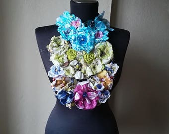 Fabric flower Statement Bib Necklace, fabric flower roses necklace wedding jewelry green blue grey necklaces