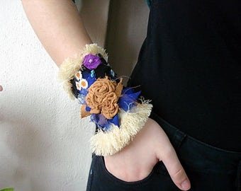 Fabric Cuff Bracelet, Embellished cuff Floral Wrist Corsage, Colorful Flower Corsage, Textile Bracelet