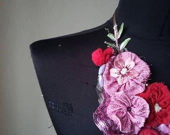 Pink necklace, Statement bib fabric flower necklace, Big fabric rosette necklace. Boho Textile Necklace