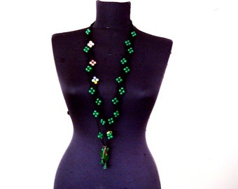 Green extra Long necklace, double strand necklace, knot beaded necklace