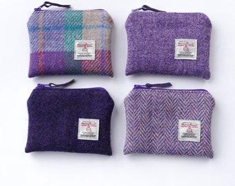 Harris Tweed Coin Purse  Handmade  Purple Herringbone Free UK P/&P