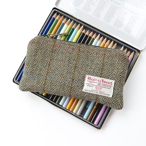 Harris Tweed pencil case in black /& white houndstooth and yellow