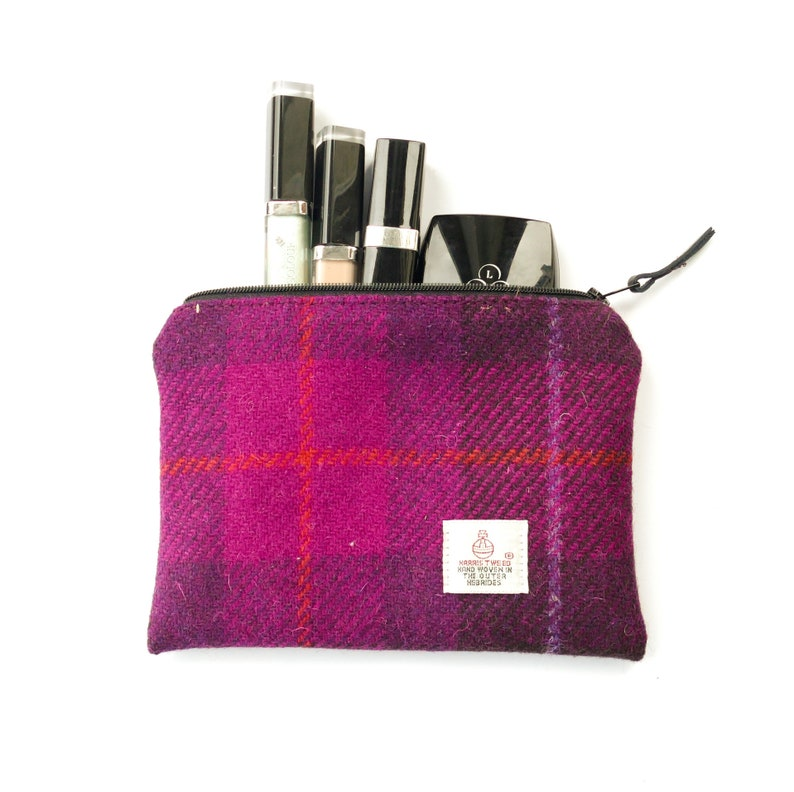 3c9c9d8e41 Small makeup bag fuchsia pink HARRIS TWEED tartan cosmetic