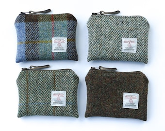 Small brown coin purse, HARRIS TWEED, pocket purse, gift for men, pocket purse