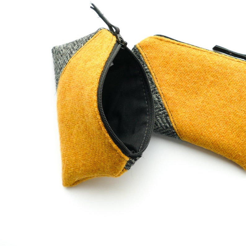 Soft coin purse geometric design pocket purse grey and yellow HARRIS TWEED