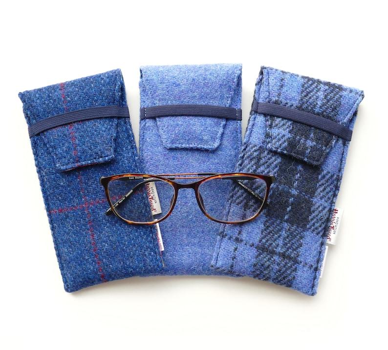 ae0d2228bffd Glasses case blue HARRIS TWEED. Choice of patterns Handmade