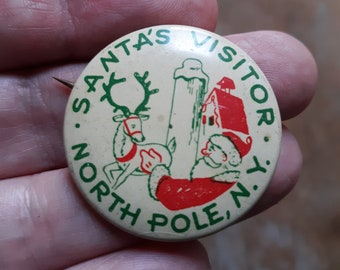 Vintage Souvenir Santa's North Pole, New York Visitor Pinback Button