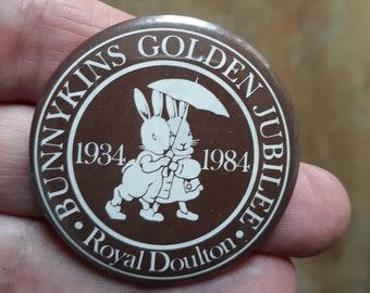 Royal Doulton Bunnykins Golden Jubilee Pinback Button 1934 -1984