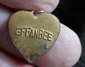 Vintage EFFANBEE BRASS HEART Doll Tag