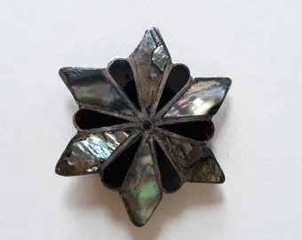 TAXCO Silver and Abalone and ? Brooch Pin or Necklace Pendant - Marked