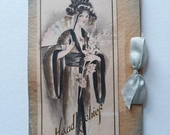 Beautiful Early Ephemera Handkerchief Packet - Unused - Fold Seam Separation