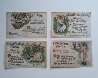 Four Birthday Greeting Postcards - Copyright 1913 C.M. Burd - Story Verses and Biblical Quotes
