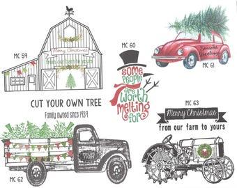 Christmas, holiday, Farmhouse, Truck, Tractor, VW bug, shabby chic, coffee, santa, ruffled, flour sack towel, tea towel