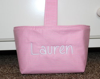Personalized Pink Gingham Easter Basket