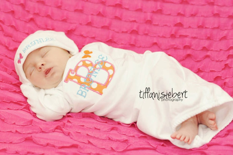 d43f606427d Personalized Baby Girl Gift Set Gown with hat