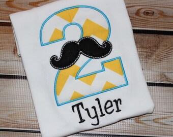 Personalized Mustache Birthday Shirt
