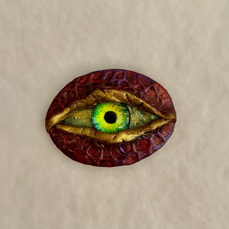 Dragon reptile EYE focal Cabochon bead embroidery mixed media assemblage one of a kind glass eye 30x40mm