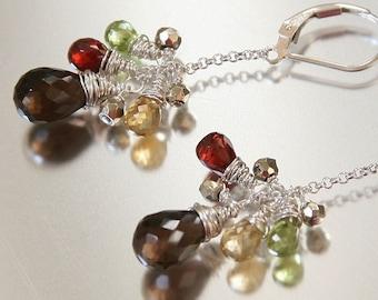 autumn foliage gemstone earrings