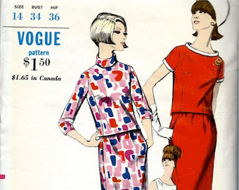 "1960's Vogue Pattern No. 7087 :  Mod Two Piece  Dress or Suit -  Bust 34"""