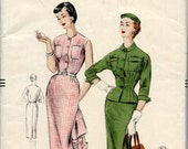 1954 Vogue Sewing Pattern 8347 Fitted Sleeveless Shirt Dress and Matching Fitted Jacket with Roll Back Cuffs Wiggle Dress - Bust 32