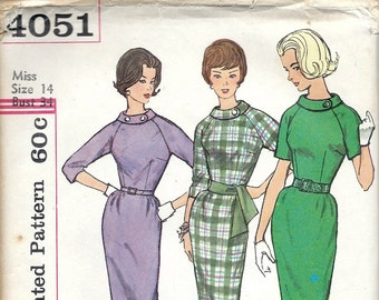 1960's Simplicity Sewing Pattern No 4051 - Wiggle Dress with Roll Collar and Raglan Sleeves , Proportioned Sizes ,  Bust 34