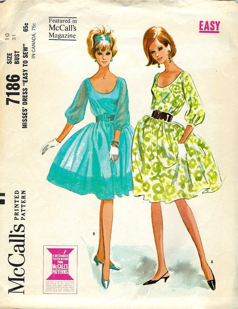 85370c10d 1964 McCall's Sewing Pattern 7186 Dress with Low Scoop | Etsy