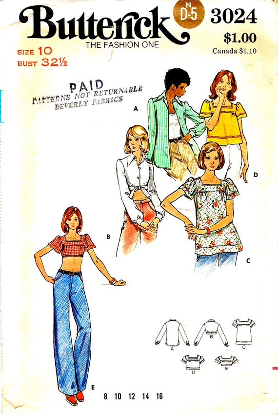 Butterick Sewing Pattern 3024 Summer Tops Midriff Tops with | Etsy