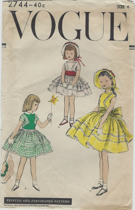 1956 Vogue Sewing Pattern 2744 Girls Party Dress with Full Gathered Skirt and Bolero Bodice Peter Pan Collar Petticoat Flower Girl Size 4