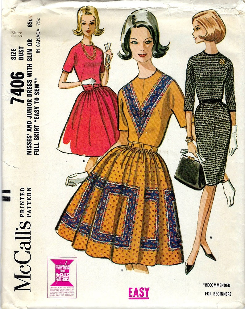 0a8061e76 1964 McCall's 7606 Sewing Pattern Fitted Bodice Dress | Etsy