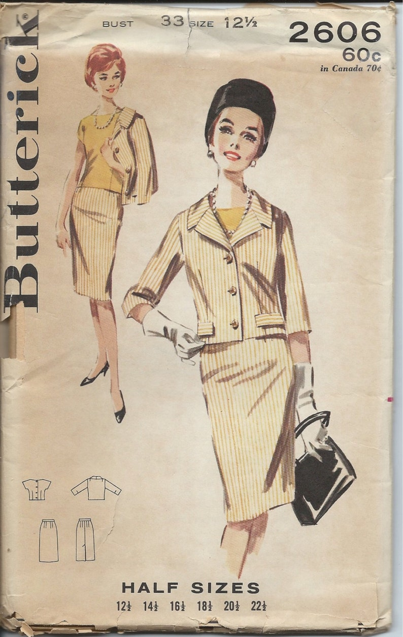 5ba3522cb4 1960 Butterick Sewing Pattern 2606 Women's Suit Button | Etsy
