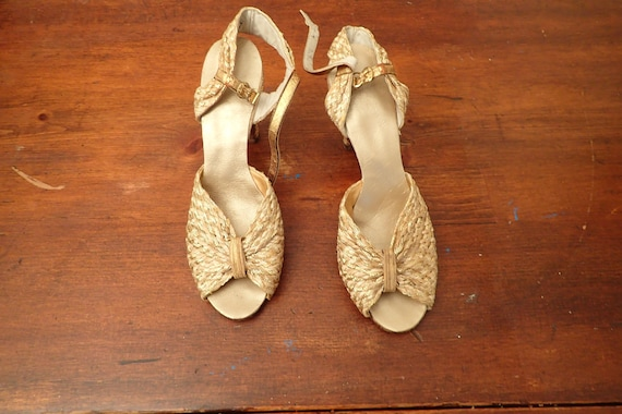 1930's Metallic Gold and Taupe Woven Evening Shoes