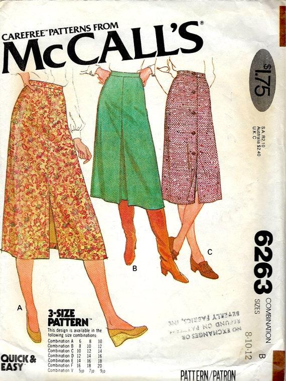 McCall Schnittmuster Nr. 6263 Rock mit vorne geknöpft Rock | Etsy